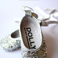 DOLLY by Le Petit Tom ® BABY BALLERINA'S 6B silver glitter