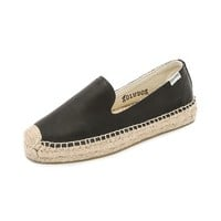 Soludos Leather Platform Smoking Slipper Espadrilles