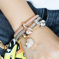 Golden Rhinestone Elephants Alloy Bracelets