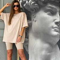 Women Set O Neck Loose Short Sleeve Top Shirt And Biker Shorts Casual Two Piece Sets