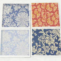Country Tile Coasters in Floral Blue and Red with Glitter Embossing, Velvet Texture and Foam Backs (4) No Shed