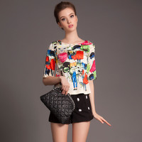 Printed Half Sleeve Top with Buttoned Shorts Set