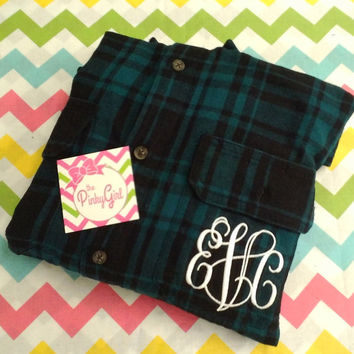 Monogrammed Flannel Plaid Shirt
