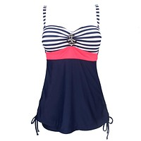 Swimming Suit for Women Plus Size Vintage Sailor Pin Up Two Piece Tankini Swimdress Femme Beach Wear