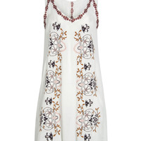 White Double V-neck Floral Embroidered Dress
