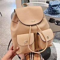 Coach fashion hot seller plain drawstring backpacks for casual ladies