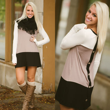 Only With You Tunic (Ivory/Mocha/Black) - Piace Boutique