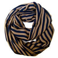 Navy and Mocha Striped Infinity Tube Scarf Fun Casual or Dressy Eternity Scarf Double Loop Women Teen Cute Trendy Striped Circle Scarf