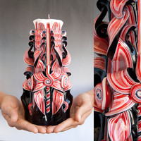 Carved candle -  Black and Red candle - Gothic candle