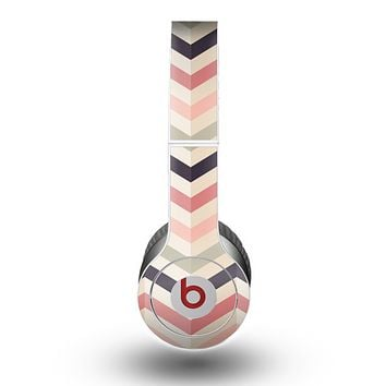 The Pink-Tan-Black Zigzag Pattern Skin for the Beats by Dre Original Solo-Solo HD Headphones