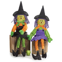 Two Sitting Witches Halloween Decor