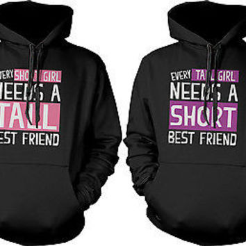 Cute BFF Matching Hoodie Sweatshirts for Tall and Short Best Friends