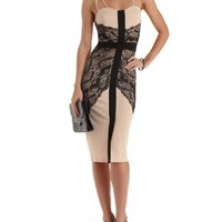 Black Combo Strappy Lace-Trim Bodycon Dress by Charlotte Russe