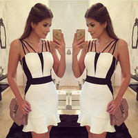 Block Sphagheti Strap Bodycon Dress