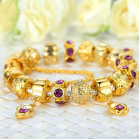 High Quality Gold Charm Bracelet Exquisite Murano Glass Beads Gift PA1427