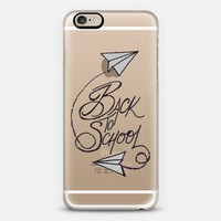 BACK TO SCHOOL - Whimsical Fun Paper Airplanes High School College Typography Design Minimalist Chic Black White Grey Gray Autumn Fall Quote Art iPhone 6 case by Ebi Emporium | Casetify