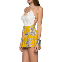 (amm) Lace and flower yellow romper