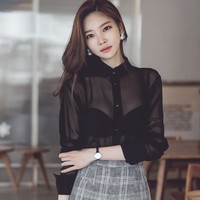 women transparent sexy chiffon shirt long sleeve button blouse 2018 autumn new ladies femme blusa fashion blusa club character