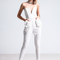 WHITE SWEETHEART JUMPSUIT