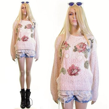 roses and pearls sweater floral sweater 80s sweater 90s sweater pink 1990s 90s clothing vintage 90s grunge hipster boho jumper womens m