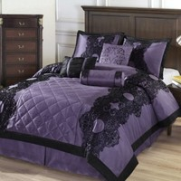 Cozy Beddings Victoria 7-Piece Floral Flocking Comforter Set, Full, Purple/Black