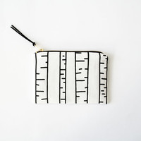 BIRCH TREEs/ hand screen printed woman wallet with graphic birch tree print, black and white fabric pouch, birch tree wallet