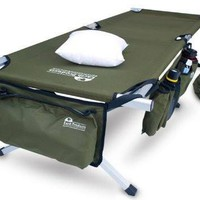Military Style Folding Cot with Free Side Storage Bag System and Pillow (Green)
