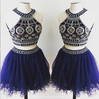 Two-pieces Beaded Short Tulle Homecoming Dress/Party Dress