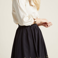 Black Mini Skirt with Mystic Embroidery