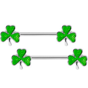 "14 Gauge 5/8"" St Patricks Day Green Shamrock Barbell Nipple Ring Set"