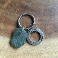 Rock Climbing Key Chain, Sea Glass Key Chain, Rock Climbing Fathers Day Gift, Free US Shipping, Rock Key Chain, Fathers Day Gift