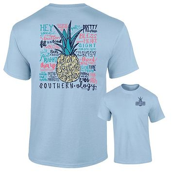 Southernology Talk Southern to Me Pineapple Chambray Comfort Colors T-Shirt