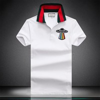 GUCCI 2018 new color flying saucer halo embroidered thread lapel short-sleeved T-shirt White