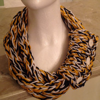 Pittsburgh Steelers Pittsburgh Penguins New Orleans Saints Pittsburgh Pirates Boston Bruins Infinity Eternity Finger Knit Necklace Scarf