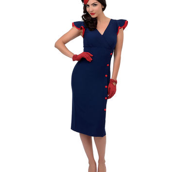 Stop Staring! 1940s Style Nautical Navy Blue & Red Button Honor Fitted Wiggle Dress