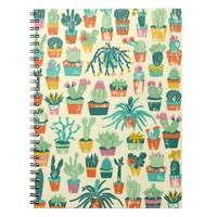 Colorful Cactus Flower Pattern Spiral Notebook
