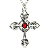 Nordic Gothic Cross Necklace with Red Stone Jewelry