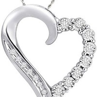 """10k White Gold Round and Diamond Heart Pendant Necklace (1/10 cttw), 18"""""""