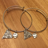 Pizza Slice Best Friend Charm Bangle Bracelet