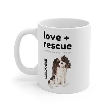love + rescue Mug — Tri Color Cavalier King Charles Spaniel