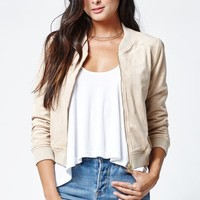 LA Hearts Faux Suede Bomber Jacket - Womens Jacket - Brown