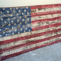 A BEST SELLER! American Flag in 2 sizes made with Pallet wood. Distressed and made to look rustic. Patriotic Flag. Home Decor. Rustic