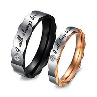 """Men's Wide 6mm """"I Will Always Be with You"""" Stainless Steel Ring Band CZ Black Silver Valentine Love Couple Wedding Engagement Promise Size10"""