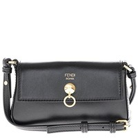 Fendi Women's Women's Micro Baguette Gold Chain Strap Bag Black