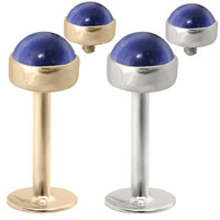 14K Gold internally threaded labret with 4mm Sapphire Cabochon