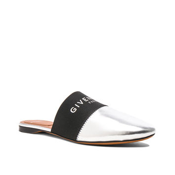 Givenchy Leather Bedford Logo Trim Flat Mules in Silver & Black | FWRD