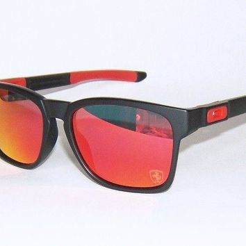 OAKLEY CATALYST FERRARI MATTE BLACK & RED - RUBY IRIDIUM SUNGLASSES OO9272-07