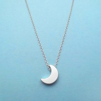 Crescent, Moon, Silver, Necklace