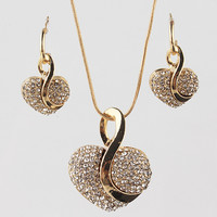 18k Gold Plated Crystal Heart Shape Pendant Chain Women's Necklace & Earrings Jewelry Gift Set Love