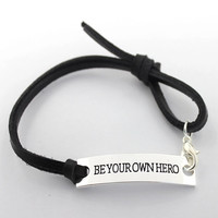 Be Your Own Hero Charm Leather Sterling Silver Bracelet Handstamped Jewelry Hand Stamped Affirmation Graduation Gift Semi Colon My Story